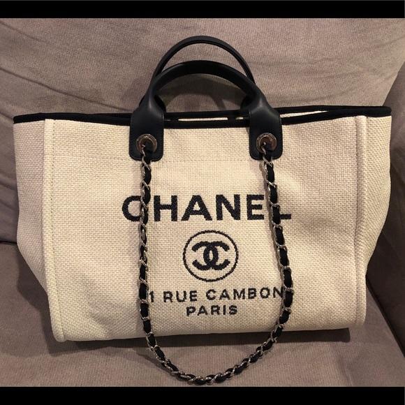 c86fd57521b0 CHANEL Handbags - Chanel Large Deauville White Raffia/Navy Trims
